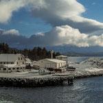 Blick auf den Hafen von Finnsnes