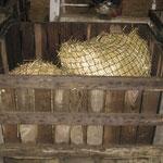 Caisse en bois pour distribuer le foin au niveau du sol sans être dans la boue