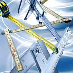 Utensili per misurare: livelle, squadre, utensili per misurare, calibrare, contrassegnare