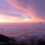 ピンクに染まる雲海と共に