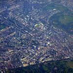 Bildmitte: Lord´s Cricket Ground; rechts davon Regent´s Park; unten Paddington Station und Hyde Park