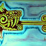 Quetzalcoatl. Acrilico sobre carton.