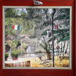2014 - lido- mixed media with oilfinish on PVC and wood windows - 70 x 66