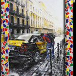 2014 - to camp nou please - mixed media with oilfinish on PVC and wood windows - 42 x 70
