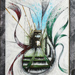2021 - pont del bisbe - mixed media with acrylic colors on PVC and collage frame - 45 x 55