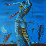 1993 - giraffa in fuoco - replica dalì - oil on wood - 48 x 60