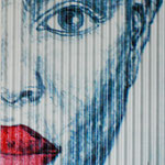 2006 - red lips 2 - mixed media oilfinish wave PVC - 66 x 102