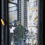 2015 - *elisabeths guest list - mixed media with oilfinish on PVC and wood window - 34 x 73