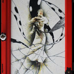 2020 - flamenco passion - mixed media whit oilfinish on PVC and wooden windows - 47 x 75