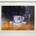 2014 - due caffè - mixed media with oilfinish on paper and white frame - A3