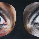 2014 - golden eyes - mixed media with oilfinish on PVC - 190 x 73