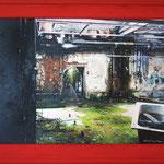 2015 - mondo esterno - photo collage with oilfinish on PVC and wood frame - 84 x 63