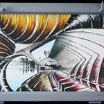 2019 - fantasy city- mixed media whit oilfinish on PVC and wooden windors - 75 x 47