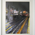 2014 - metro backlight - mixed media with oilfinish on paper and white frame - A3
