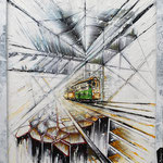 2020 - milano tram - mixed media with acrylic colors on PVC and collage frame - 43 x 53