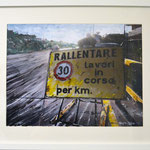 2014 - rallentare - mixed media with oilfinish on paper and white frame - A3