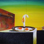 1993 - uovo sul piatto senza piatto - replica dalì - oil on wood