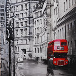 2013- *London old bus- mixed media with oilfinish on PVC -62 x 100