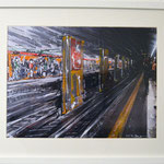 2014 - metro per rho - mixed media with oilfinish on paper and white frame - A3