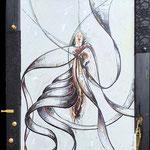 2020 - flamenco sensation - mixed media whit oilfinish on PVC and wooden windows - 58 x 78