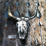 2014 - *skull - mixed media with oilfinish on PVC - 100 x 70