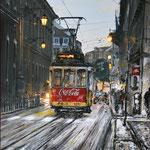 2015 - lisboa tram - mixed media with oilfinish on PVC - 70 x 100