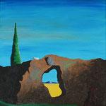 1995 - l'ora triangolare - replica dalì - oil on wood - 48 x 60