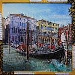 2018 - venezia gondole - mixed media with oilfinish on PVC and wood frame - 43 x 43