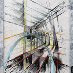 2020 - rialto - mixed media with acrylic colors on PVC and wood frame - 43 x 53
