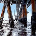 2019 - venice pier - mixed media with oilfinish on PVC - 20 x 25