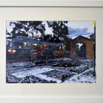 2014 - *arbatax train - mixed media with oilfinish on paper and white frame - A4