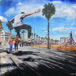 2018 - jump - mixed media with oilfinish on PVC - 100 x 70