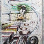 2020 - skate - mixed media with oilfinish on PVC and frame - 53 x 73