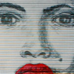 2006 - red lips 1 - mixed media oilfinish wave PVC - 102 x 66