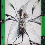 2020 - flamenco clara - mixed media whit oilfinish on PVC and wooden windows - 55 x 75