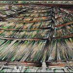2011 - fuori dal tunnel - mixed media with oilfinish on canvas - 210 x 50