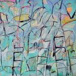 """Autor: Francisco Huazo  Título: """"Ver hasta donde quiera ir"""" Técnica: pigmentos cerámicos, óleo y tierras / panel de madera. Medidas:180cm x123 cm Año: 2015 Clave: 07P FH 15"""