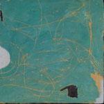 """Autor: Francisco Huazo  Título: De la Serie """"Mar"""" Técnica: Mosaico (Tríptico) con pigmentos cerámicos, óleo y tierras / panel de madera, con marco. Medidas: 36cm x 122cm Año: 2015 Clave: 15 FH 08"""