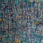 """Autor: Francisco Huazo  Título: """"Viendo rodar el Tiempo"""" Técnica: pigmentos cerámicos, óleo y tierras / tela. Medidas:180 cm x180 cm Año: 2015 Clave: 09P FH 15"""