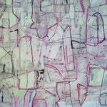 """Autor: Francisco Huazo  Título: """"Crónica de los Días"""" Técnica: pigmentos cerámicos, óleo y tierras / panel de madera.  Medidas: 200cm x 122cm Año: 2015 Clave: 03P FH 15"""