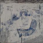 """Autor: Francisco Huazo  Título: De la Serie """"Mar"""" Técnica: Mosaico (Tríptico) con pigmentos cerámicos, óleo y tierras / panel de madera, con marco. Medidas: 36cm x 122cm Año: 2015 Clave: 15 FH 07"""