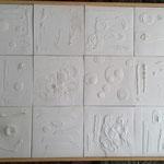 """Autor(as): Mara Silva y Berta Kolteniuk Título: """"Memoria en Blanco"""" Técnica: Porcelana con Pastillaje. Medidas: 104 x 139 cm. Año: 2014 Clave: 91C 14 MS"""