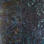 """Autor: Francisco Huazo Título: De la Serie """"Homenaje a Batallas Olvidadas"""" Técnica mixta: pigmentos, oleo /panel de madera. Medidas: 60 x 180 x 10 cm (estela) Año: 2012 Clave: FHP-TB-107"""