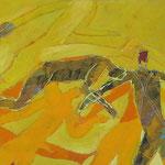"""Autor: Francisco Huazo Título: De la Serie """"Homenaje a Batallas Olvidadas"""" Técnica mixta: pigmentos, óleos y tierras/panel de madera Medidas: 122cm x 44cm Año: 2014 Clave: 54P 14 FH"""