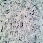 """Autor: Francisco Huazo  Título: De la Serie """"Nadando con Ballenas en un Mar de Tedio"""" Técnica: Pintura (Triptico) 2  con pigmentos cerámicos, óleo y tierras/ panel de madera. Medidas:368cm x 200cm Año: 2015 Clave: 15 FH 11"""