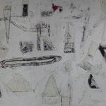 """Autor: Francisco Huazo  Título: De la Serie """"El Mar Bordando al Cielo"""" Técnica: Pintura con pigmentos cerámicos, óleo y tierras/ panel de madera. Medidas: 77 cm x 57 cm Año: 2016 Clave: 08P FH 16"""