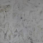 """Autor: Francisco Huazo  Título: De la Serie """"El Mar Bordando al Cielo"""" Técnica: Pintura con pigmentos cerámicos, óleo y tierras/ panel de madera. Medidas: 77 cm x 57 cm Año: 2016 Clave: 07P FH 16"""