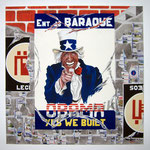 "76 ""Obama"" acrylique et collage/toile 100x100cm 2009 1200€"