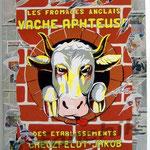 """58 """"La vache Aphteuse"""" acrylique et collage/toile 2007 vendu"""