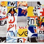"""108 """"Pub en vrac"""" acrylique/toile 65x32cm 2012  450€"""